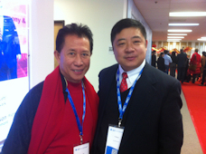 Chef/Owner Alex poses with Martin Yan, M.C. of the Award Ceremony.